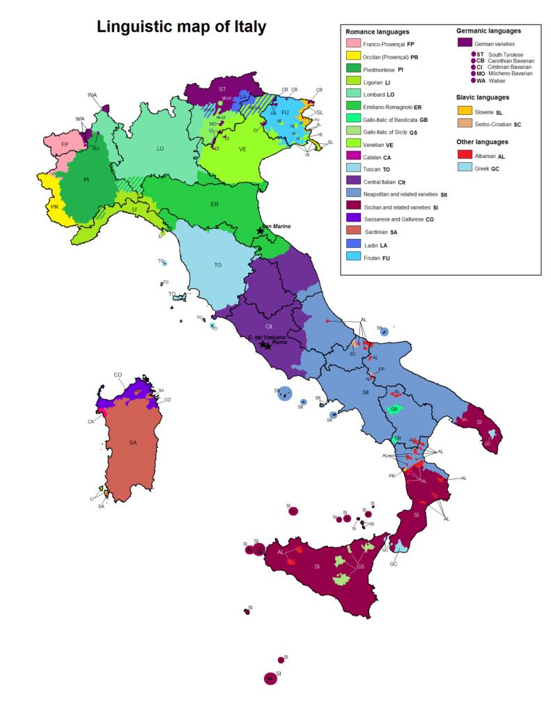 mappa linguistica italia